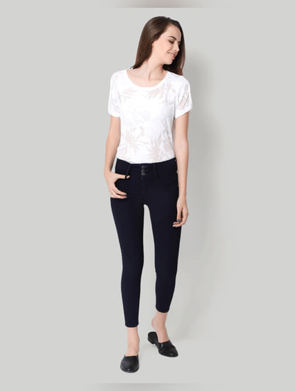 Dark Blue Mid Waist Buttoned Ankle Length Skinny Jeans