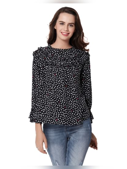 Black Printed Frill Detail Top