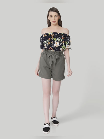 Olive Green Self Tie Slim Shorts