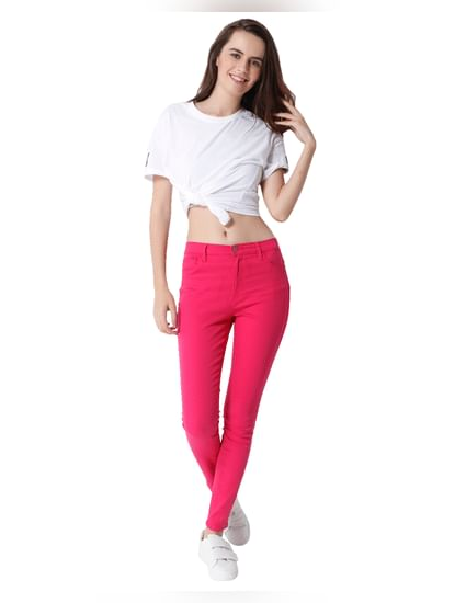 Pink Mid Rise Skinny Fit Ankle Length Pants