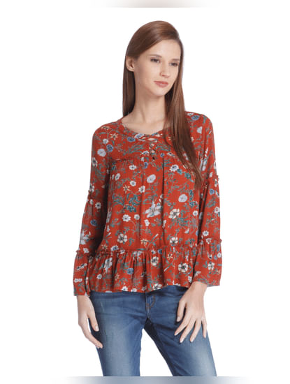 Red Tiered Sleeves Top
