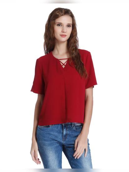 Red Criss Cross Neck Top