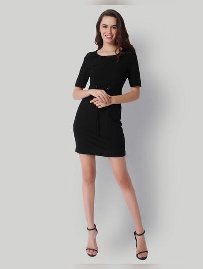 Black Lace Up Detail Mini Dress