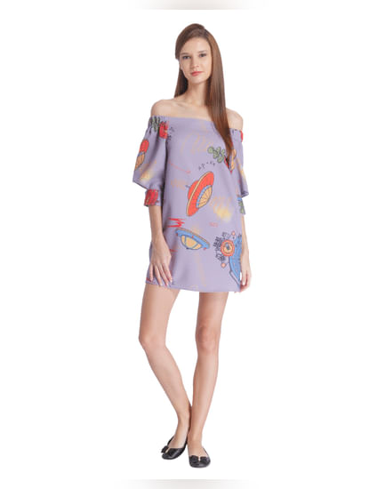 Purple Off Shoulder Spaceship Print Mini Dress