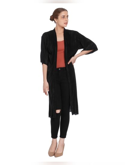 Black Pleated Long Cardigan