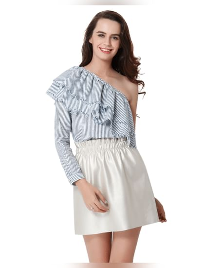 Blue Striped Frill Detail One Shoulder Top