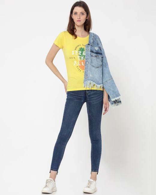 Lemon Yellow Pineapple Print T-Shirt