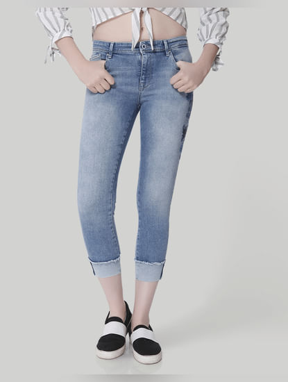 Light Blue Embroidered Mid Rise Skinny Jeans