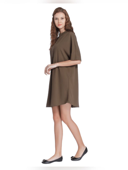 Brown Front Zip Mini Shift Dress