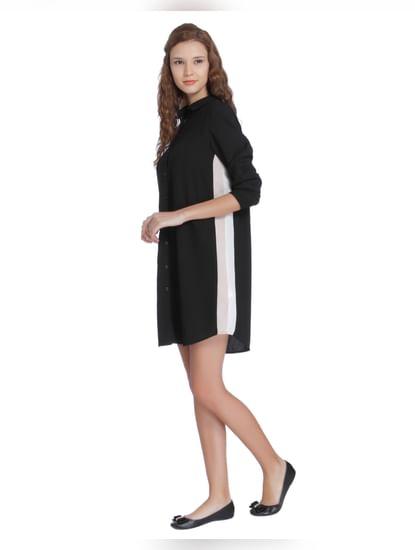 Black Colour Blocked Shirt Dress