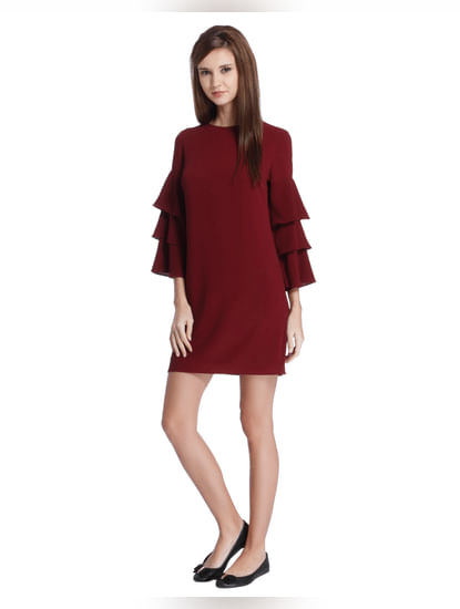 Maroon Frill Sleeves Mini Dress