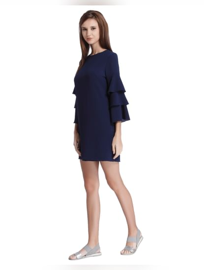 Blue Frill Sleeves Mini Dress