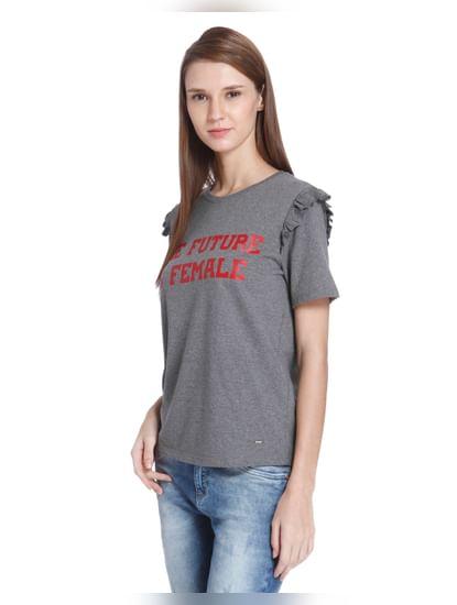 Grey Slogan Print Ruffle Detail T-Shirt