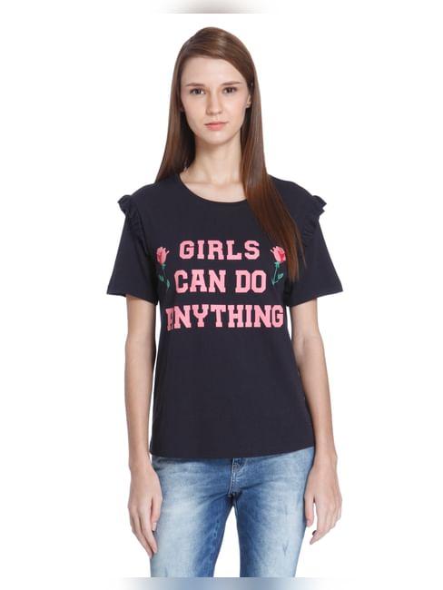 Blue Ruffle Sleeves Graphic Print T-Shirt