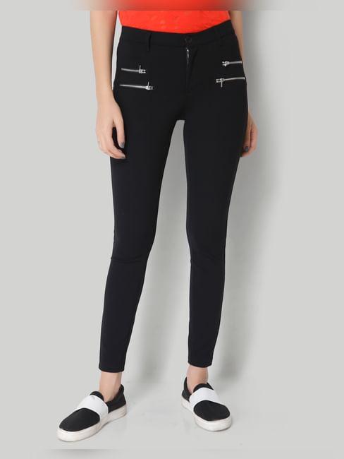 Black Zipper Mid Waist Ankle Length Skinny Pant