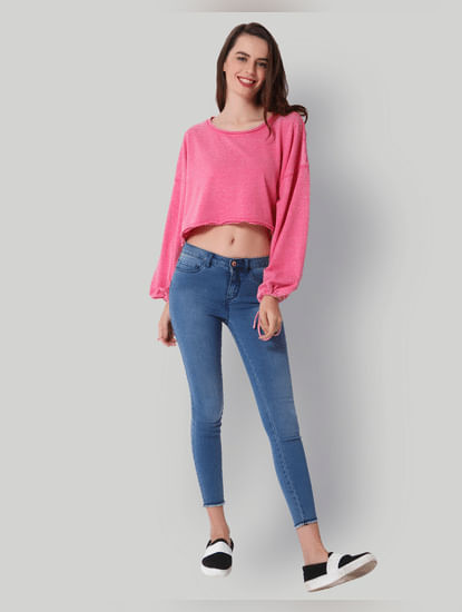 Pink Tie Sleeves Cropped Sweatshirt