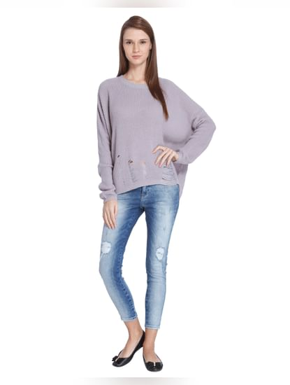 Lavender Ripped Pullover