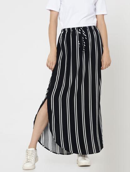 Black And White Striped Side Split Maxi Skirt