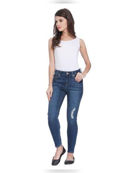 Blue Mid Rise Slim Fit Jeans