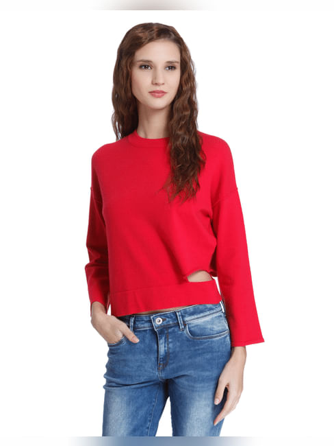 Red Flared Sleeves Pullover