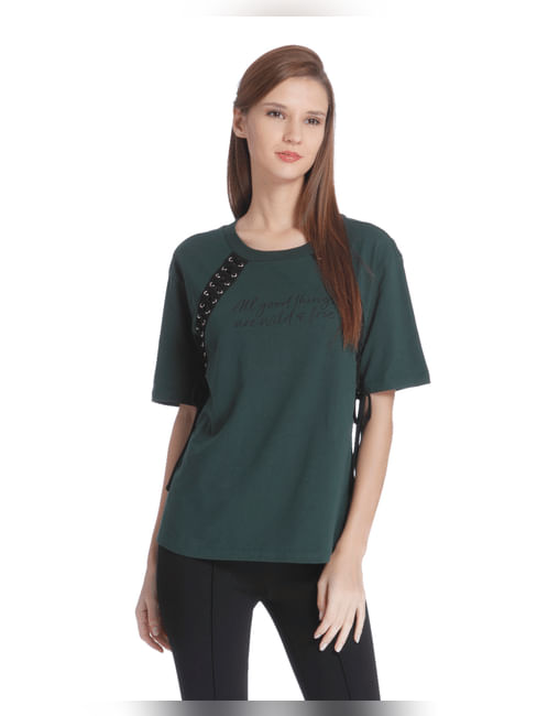 Green Lace Up Detail T-Shirt