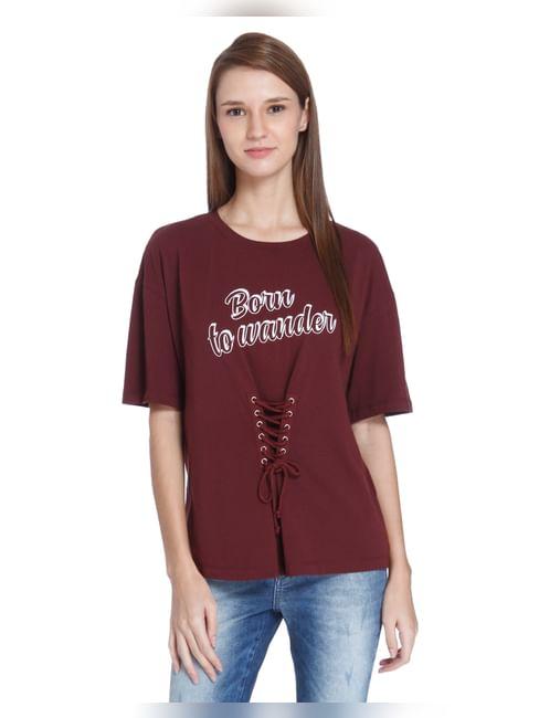 Maroon Slogan Print Lace Up T-Shirt