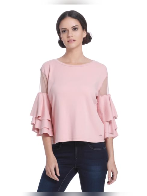 Pink Ruffle Tiered Sleeves Top