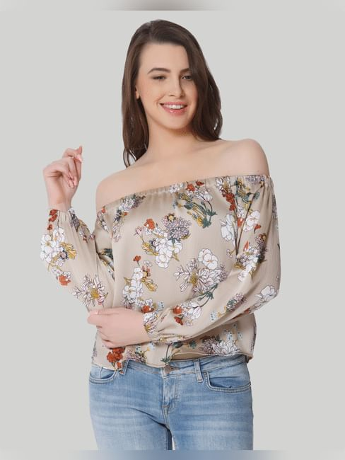 Beige Floral Print Off Shoulder Top