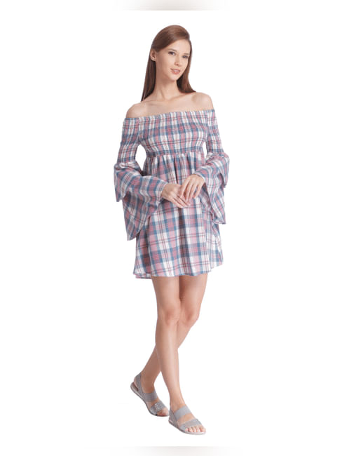 Cream Off Shoulder Bell Sleeve Short Dress