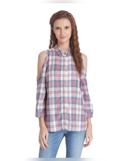 Beige & Pink Cold Shoulder Check Shirt