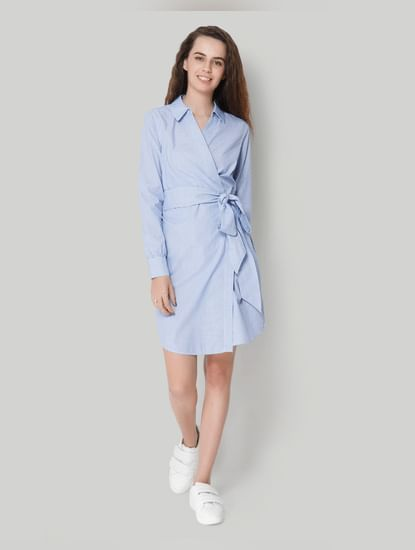 Collar Full Sleeve Stripe Blue Wrap Dress