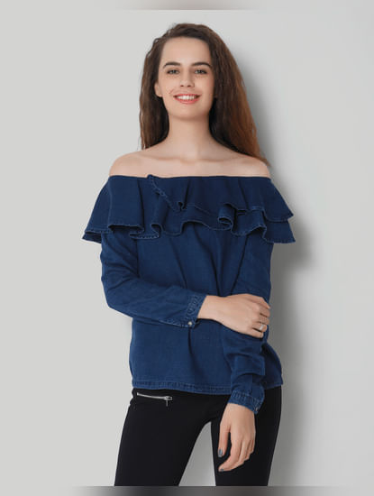 Blue Ruffled Off Shoulder Denim Top