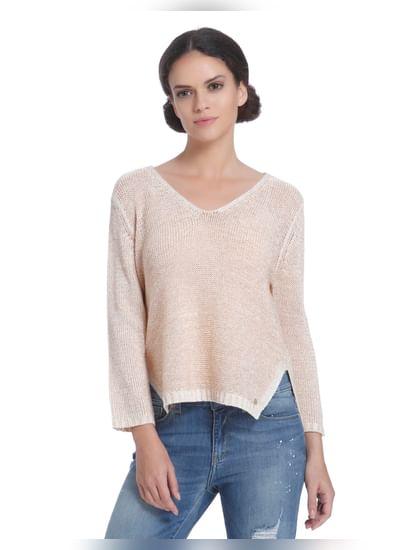 Beige Side Split Pullover