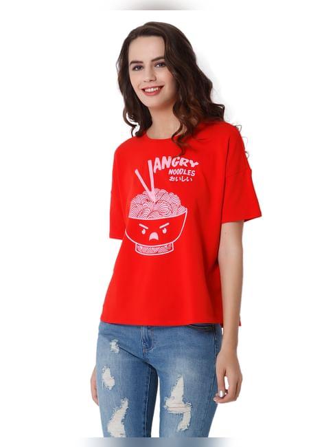 Red Noodles Print T-Shirt