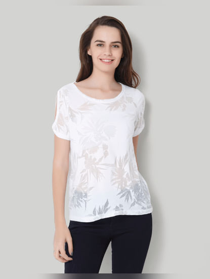 White Self Print Short Sleeve Top