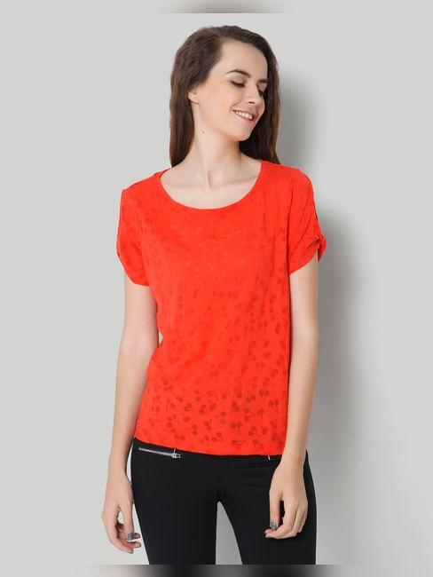 Red Self Design Short Sleeve Top
