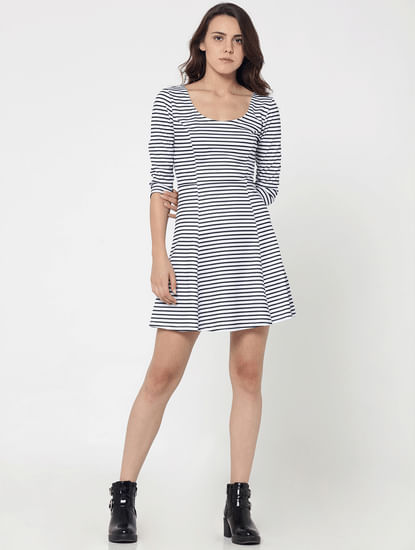 Black Striped Skater Dress