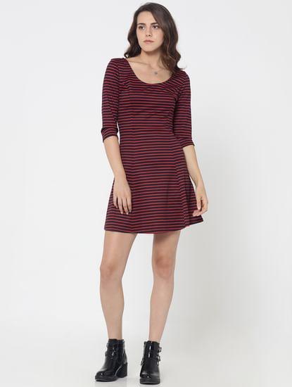 Dark Blue Striped Skater Dress