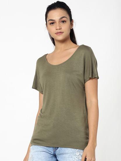 Olive Green String Back Detail Loose Fit Top