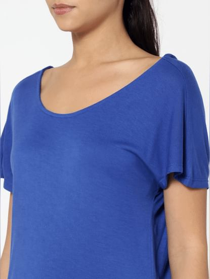 Blue String Back Detail Loose Fit Top