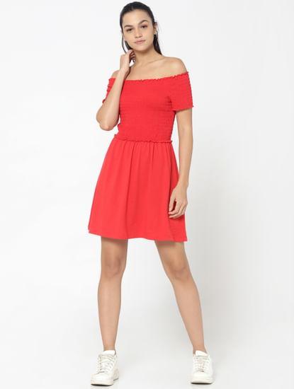 Red Smock Off Shoulder Fit & Flare Dress