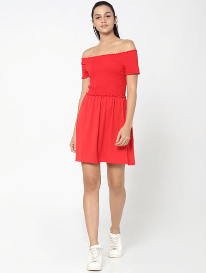 Red Smock Off Shoulder Fit & Flare Dress