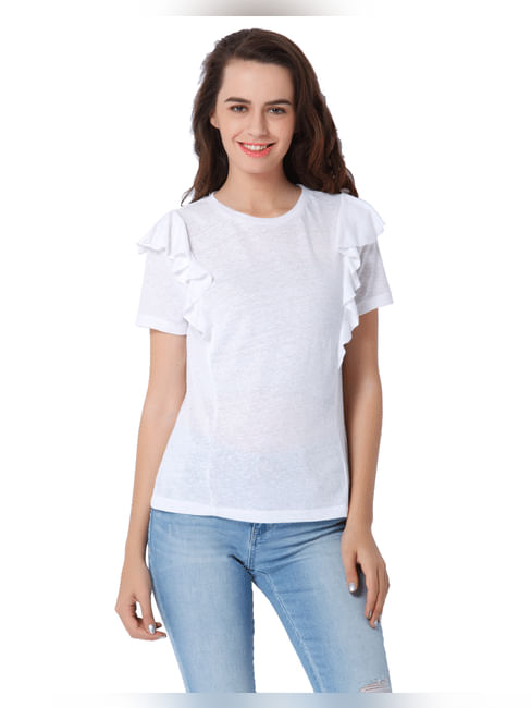White Frill Detail Top
