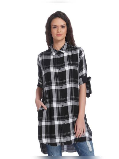 Black & White High Low Check Shirt