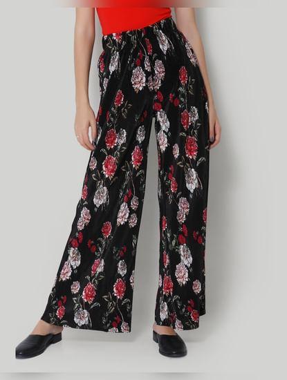 Wide Legged Black Floral Pants