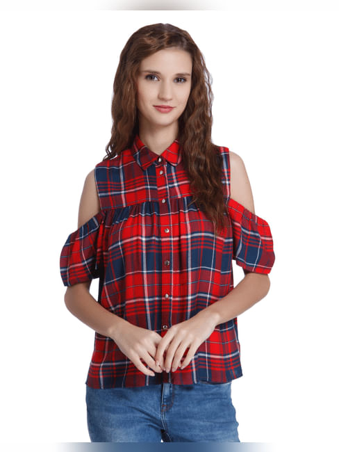Bright Red Check Cold Shoulder Shirt