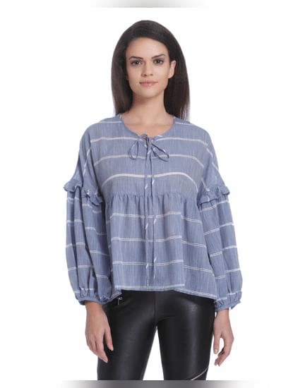 Blue Balloon Sleeves Striped Top