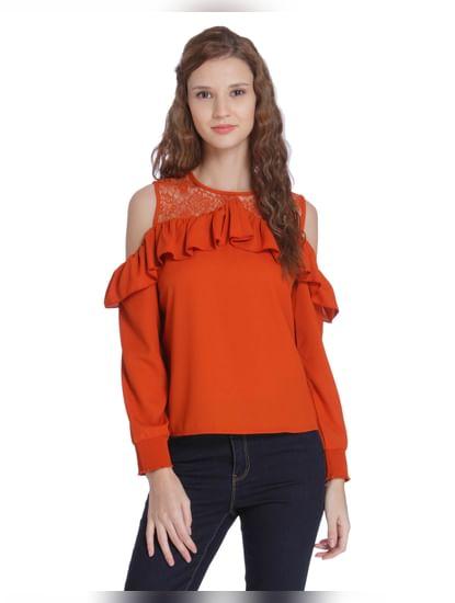 Orange Ruffle Detail Cold Shoulder Top