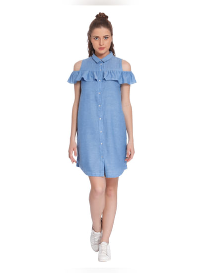 Blue Cold Shoulder Denim Shirt Dress