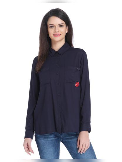 Dark Blue Text Print Shirt